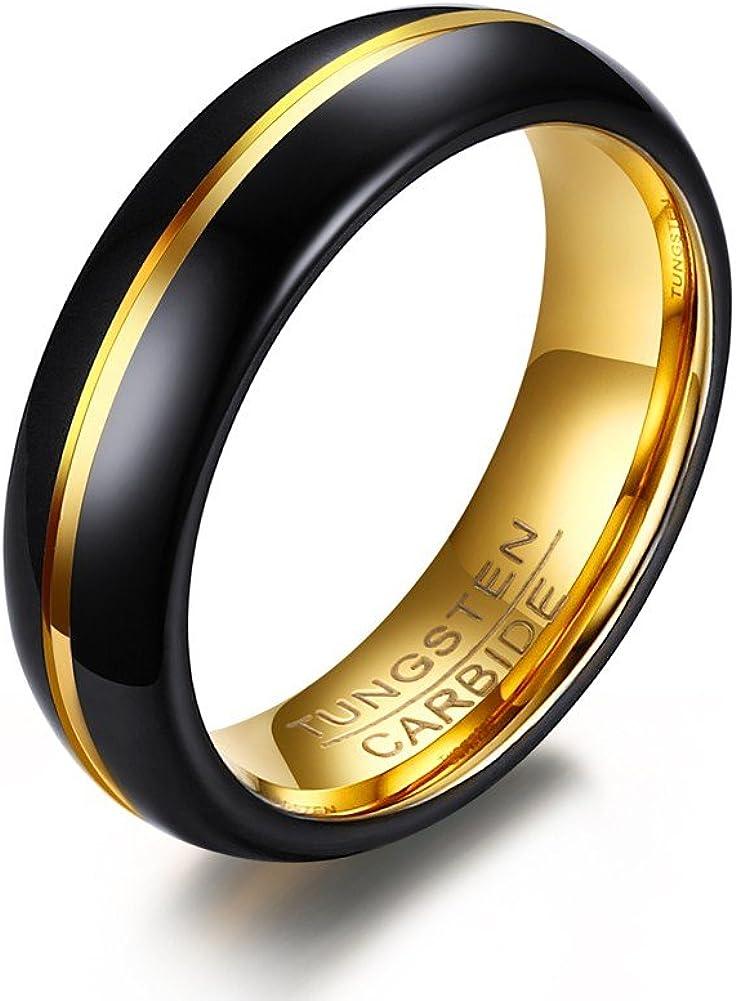 VNOX Diseño Negro 6mm del surco del Anillo de la Venda de Boda del carburo de tungsteno de los Hombres,Interior del Oro
