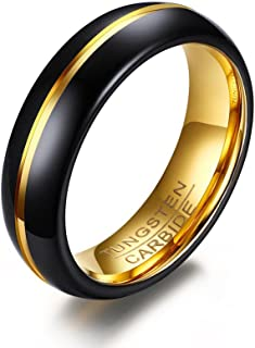 JRjewelry Tungsten Black Wedding Band Ring 6mm for Men Women Gold Center Line and Inside 14K Plated Polished-R461