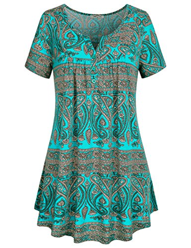 SeSe Code Womens Flattering Tops, Female Short Sleeve Long Tunic Botton Decoration Front Drapes Vintage Paisley Pattern Knit Fabric Pull Over Soft Surroundings Womens Clothing Green XXX-Large