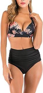ملابس سباحة نسائية بيكيني عالية الخصر بتصميم ملابس سباحة على شكل بطن، ملابس سباحة من قطعتين