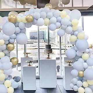 Blue yellow Macaron Golden Metallic Balloon 17FT 10In Arch Garland Kit for Boy Baby Shower Birthday Party Wedding Graduation Retirement Anniversary Organic Party Centerpiece Background Decorations