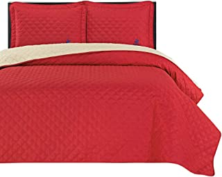 Beverly Hills Polo Club Red/Rainy Day Ultrasonic Reversible Microfiber Quilt Set, Full/Queen, 3 Piece