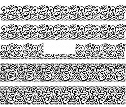 CM Nail Art manucure Stickers Ongles décalcomanie Scrapbooking: 5 Bandes Fleuries Dentelle