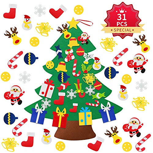 Kederwa Kids Felt Christmas Tree, 30 PCS DIY Felt Christmas Tree with Detachable Ornaments for Kids & Toddlers, Hanging Wall Decoration for New Year
