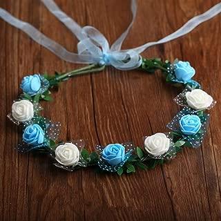 Perfect Party Decoration Holiday Accessories Bridal Wreath Headband Headdress Seaside Travel Photography Headdress(9 Flowers,Blue+White)