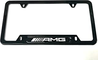 Auteal Car Stainless Steel Metal AMG License Plate Tag Frame Cover Holders w/Caps Screws for Mercedes Benz (1 Black)