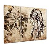 Bilderdepot24 Bild auf Leinwand   Indianer VIII, Tattoo Art
