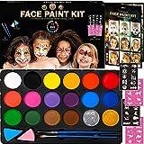 Face Paint Kit for Kids - 40 Stencils, 18 Large Professional Water Paints, Brushes, Sponges, 2 Metallic Color...