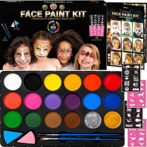 Face Paint Kit for Kids - 40 Face Paint Stencils, 18 Large Water Based Paints with 2 Metallic Colors Gold + Silver - Halloween Professional Makeup Face Paint Palette Safe for Skin, Face Painting Book
