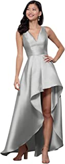 Zhongde Women's A Line High Low V Neck Ruched Satin Long Prom Dress Formal Evening Gown