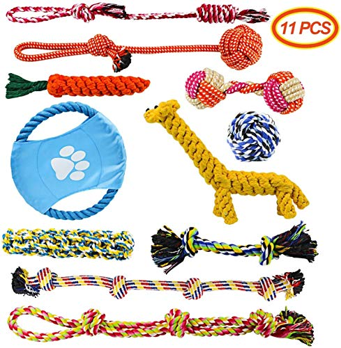 Docatgo BabyGift Hundespielzeug, Hergestellt aus Natürlicher Baumwolle ungiftig und geruchlos Robust Besser für Zahnreinigung Geeignet für kleine Und Mittlere Hunde Hundespielzeug Set 11 PCS