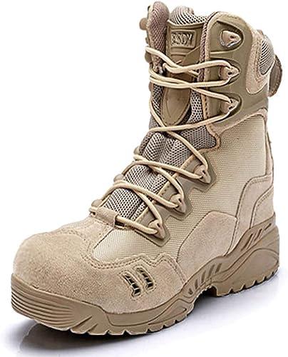 XWQXX Chaussures de randonnée extérieures Hautes Chaussures Tactiques résistantes à l'usure de Glissement Masculin,Khaki-43EU