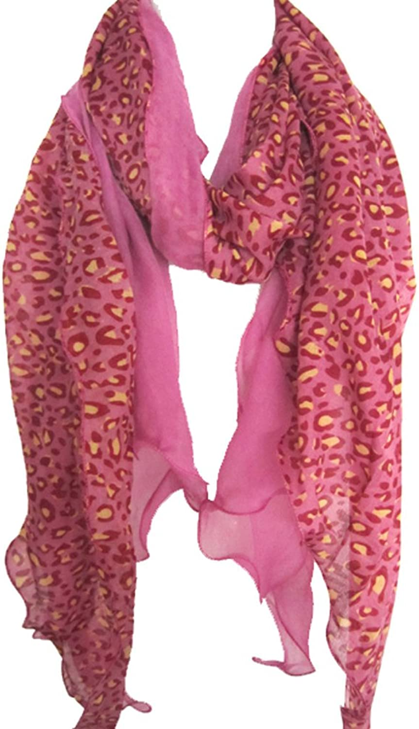 Leopard Animal Print Shawl Long Scarf Light Sheer Tonal Accent By Silver Fever Brand (Pink Fuchsia Yellow)