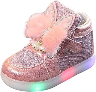 Baskets LED Enfant Fille Lapin Chaussures Sport, Chaussures de Sport Lumineuses Clignotants à LED Bas âge BéBé Multicolore...