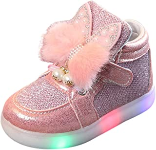 Sunward 1-7 Years Toddler Infant Kids Baby Girls Cartoon Rabbit LED Luminous Sport Shoes Sneakers