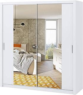 Selsey Rinker - Armoire Portes coulissantes - Blanc - 200 cm - avec Miroir