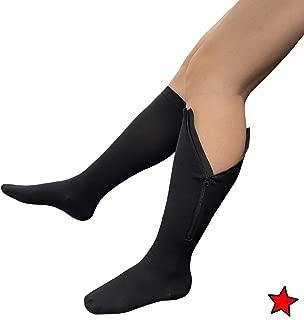 Presadee Original Closed Toe 20-30 mmHg YKK Zipper Compression Circulation Swelling Recovery Full Calf Length Energize Leg Socks (L/XL, Black)
