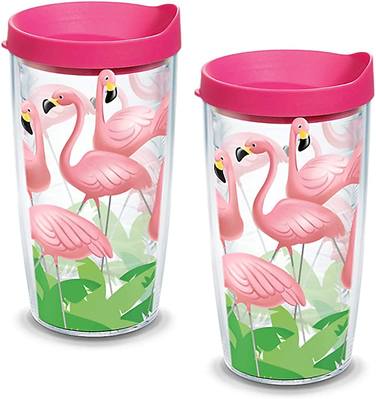 Tervis 1055675 Flamingos Tumbler With Wrap And Fuchsia Lid 2 Pack 16oz Clear