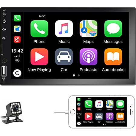 Amazon Com Podofo Double Din Car Stereo Car Radio With Buletooth 7 Hd Touchscreen Car Multimedia Player Support Fm Usb Aux D Play Ios Android Mirror Link With Rear View Camera Electronics