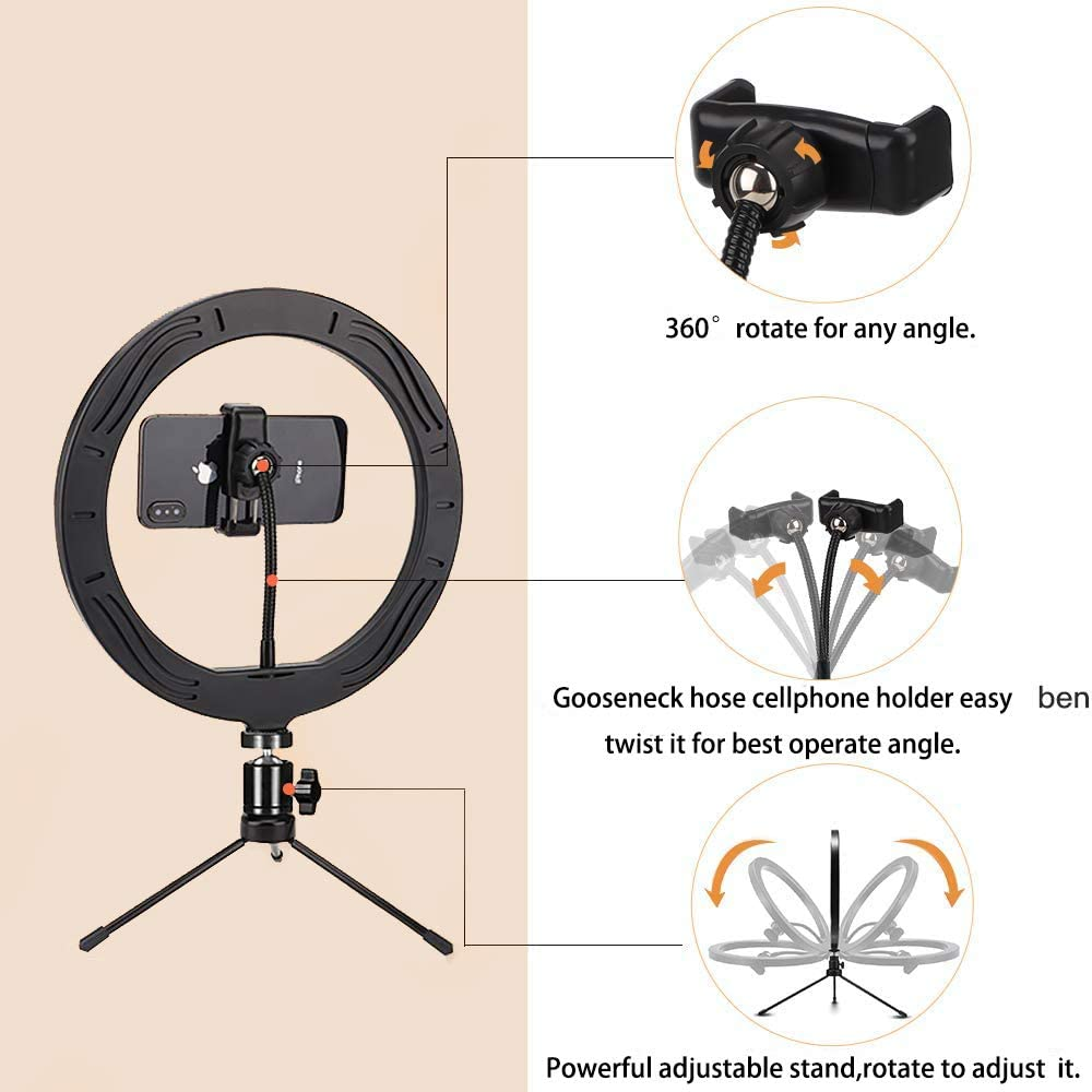 10 inch 10 Brightness Dimmable Ringlight with White//Soft//Warm 3 Light Modes for Makeup Selfie YouTube TikTok Live Streaming Record Videos with Adjustable Stand LED Ring Light with Mic