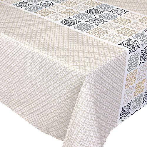 Nappe carrée 170x170 cm imprimée 100% polyester CARO grège beige
