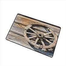 Barn Wood Wagon Wheel Modern Doormat Old Log Wall with Cartwheel Telega Rural Countryside Themed Image All Season Universal 16