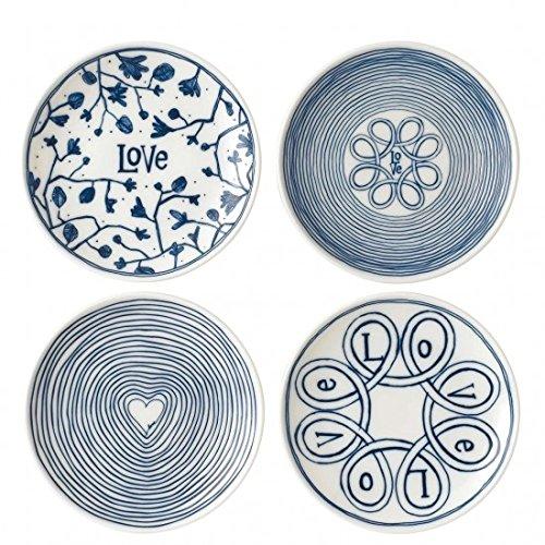 ED Ellen Degeneres Blue Love Teller, 15,2 cm, gemischt, 4 Stück