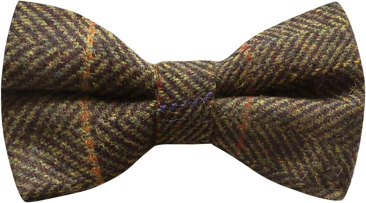 Luxury Dark Olive Green Herringbone Check Bow Tie, Tweed