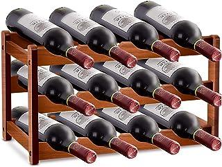 Casier à vin en Bois, casier à vin empilable, 12 Bouteilles de casier à vin en Bambou à 3 Couches, casier à vin autoportan...