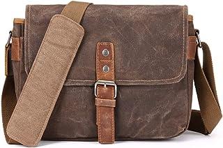 ONEGenug Vianber SLR-Kameratasche, wasserdichte Wachs-Segeltuchtasche Vintage Kameratasche Messenger Bag mit Interlayer Pad Khaki