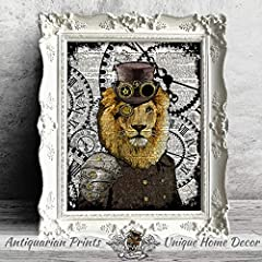Set of 2 Art Prints Lion and Peacock Steampunk Wall Decor on Dictionary Book Pages #2