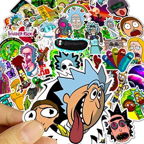 Dihge Pegatinas de dibujos animados Anime Rick, resistentes al agua, monopatín, maleta de viaje, teléfono portátil, equipaje, pegatinas, juguetes para niños, niñas, 50 unidades, aleatorio