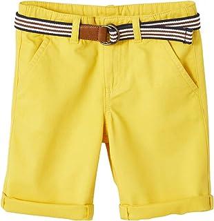 a5203675 VERTBAUDET Bermudas para niño + cinturón a Rayas Amarillo Oscuro Liso 7A
