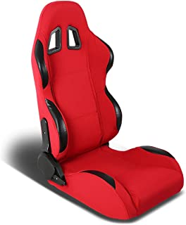 Full Reclinable Red and Black Trim Carbon Look PVC Leather Type-R Racing Seat+Adjustable Slider (Right)
