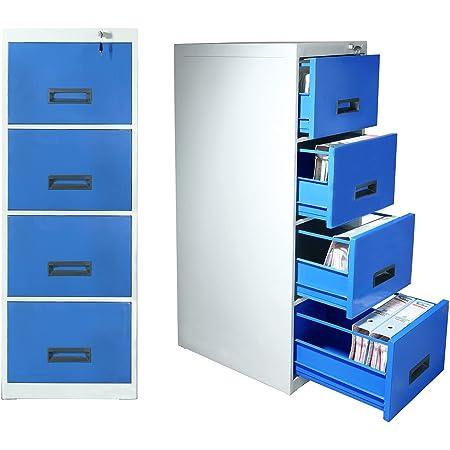 LAXMI KAPAT 4 Drawer Steel Filing Cabinet | Metal File Cabinet | Office File Cabinet | File Cabinet for Office | Office File Storage Cabinet | Lateral Filing Cabinet | Office File Drawer Cabinet (Blue)