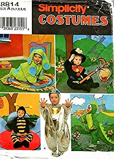 Simplicity 8814 Size A (1/2,1,2,3,4) Unisex Toddlers Costumes Dog, Hobo, Bee, Spaceman, Dragon