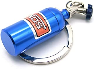 Waterwood Creative Auto Parts Models Mini Nitrous Oxide Bottle Keychain Key Chain Ring-Blue