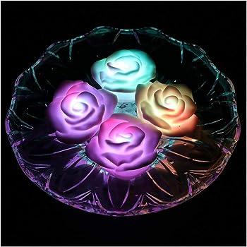 ARDUX 色を変更する防水LEDバラの花フローティングキャンドルナイトライト炎の少ないキャンドルバッテリー駆動(4個入)