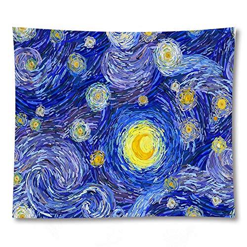 PPOU Tapiz Colgante de Pared de Pintura al óleo Abstracta de Arte Azul 3D Sala de Estar decoración del hogar Tapiz de Tela de Fondo A7 130x150cm