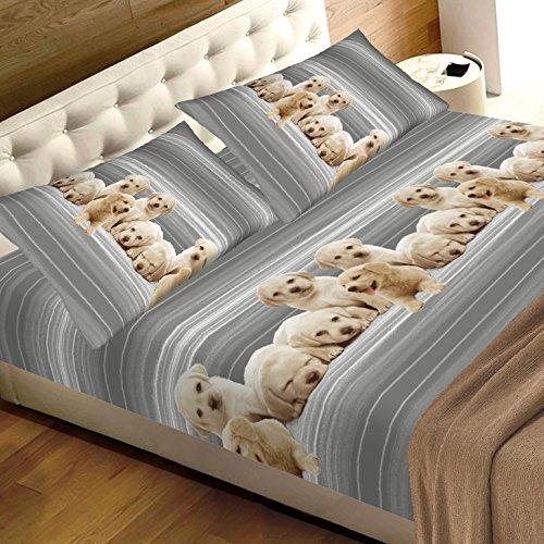 completo lenzuola matrimoniali con animali cuccioli cane, puro cotone sotto con angoli matrimoniale maxi sopra e due federe completo matrimoniale grigio fantasia stampa CANI labrador