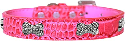 Mirage Pet Products Croc Crystal Bone Dog Collar Bright Pink Size 20
