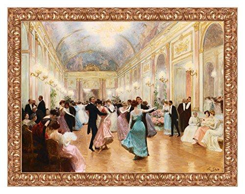 Lux Quadro Stampa su Tela Victor Gabriel Gilbert The Ball con Cornice in Legno Oro Classico Misura 83x63 CM