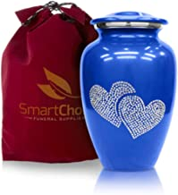 SmartChoice Urns for Human Ashes Adult Crystal Love Heart Cremation urn (Blue)