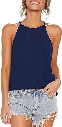 ZJCTUO Blusa de verano para mujer, cuello haltercuello cruzado, informal, básica, sin mangas, camiseta, camiseta, camiseta sin mangas, chalecos de ...