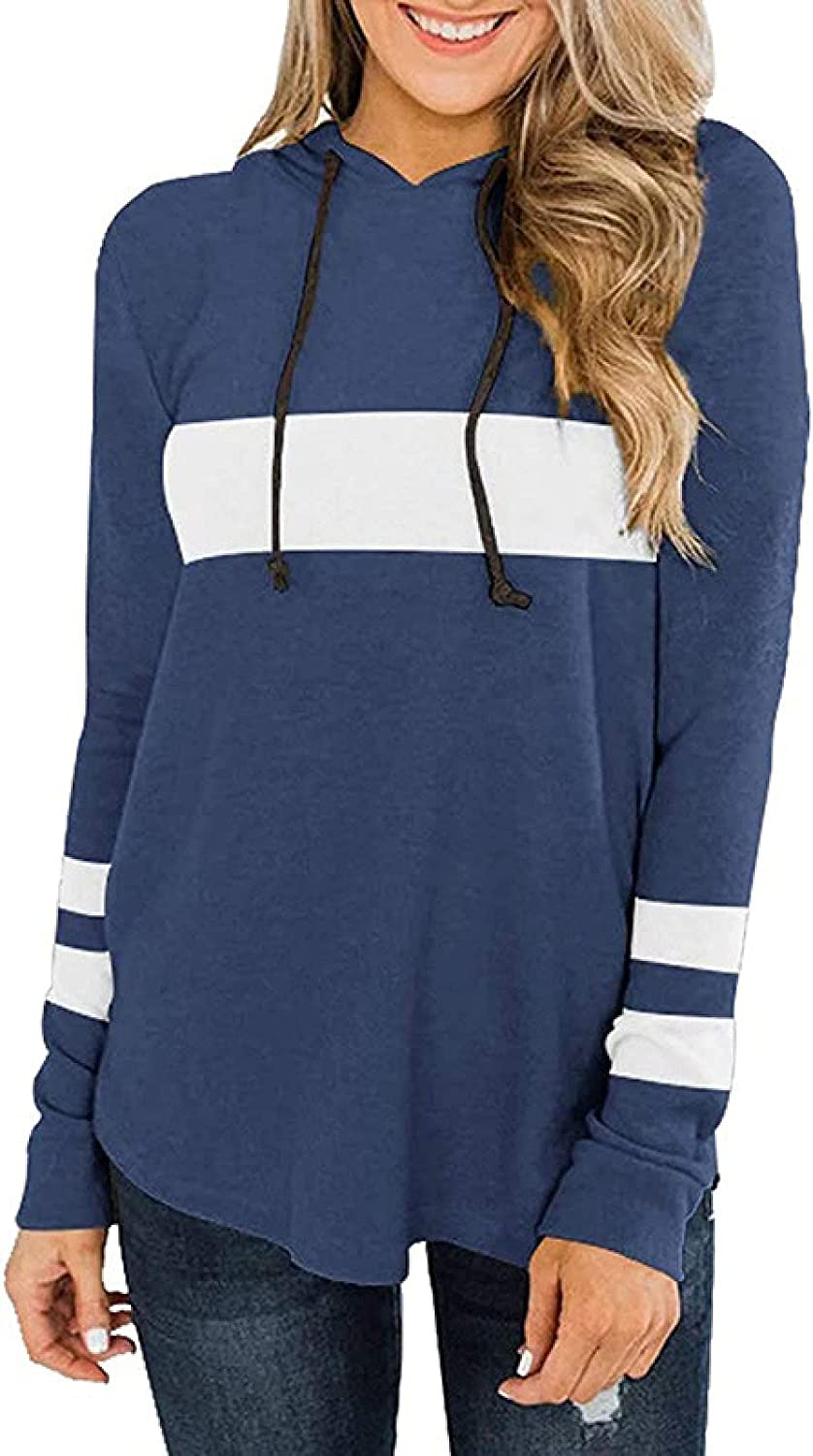 Women's Hooded Pullover Casual Color Block Sweatshirts Long Sleeve Side Split High Low Tunic Top