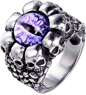 OAKKY Men's Stainless Steel Vintage Punk Ghost Skull Head Evil Eye Ring with Stone