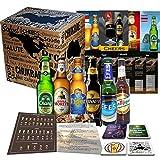 6x BIÈRES DU MONDE, idée cadeau pour l'anniversaire d'un homme, fête des pères, Pâques, coffret cadeau + instructions de dégustation + 6 x informations produit 4 sous-bocks de bière
