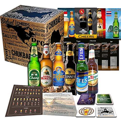 6x Biere der Welt von MGB24 + Geschenk für Mann + 4 Bierdeckel+ Produktbeschreibungen