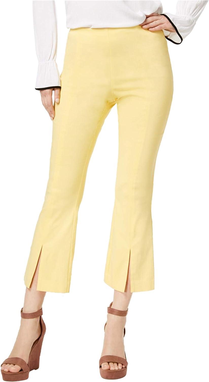 I-N-C Womens Split Hem Casual Trouser Pants, Yellow, 4