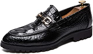 パテントレザー メンズビジネスエンボスPUシューズイングランドカジュアルファッションソフトオックスフォードレザースリッパメタルバックル装飾平底厚い滑り止め尖った靴カバー フォーマルドレス ドレスシューズ (Color : ブラック, サイズ : 28.5 CM)